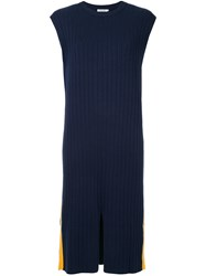 Guild Prime Contrast Side Stripe Ribbed Dress Blue