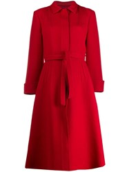 Giambattista Valli Belted Single Breasted Coat Red