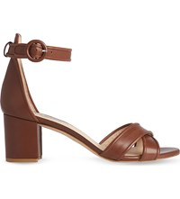 Lk Bennett Aniki Leather Heeled Sandals Tan Tan