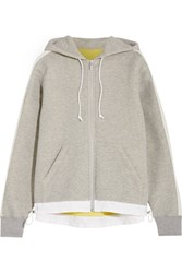 Sacai Oversized Grosgrain Trimmed Cotton Blend Jersey Hooded Top Gray
