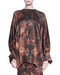 Givenchy Vintage Peacock Print Poet Sleeve Blouse Multi Colors