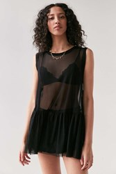 Truly Madly Deeply Mesh Babydoll Tank Top Black