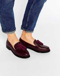 London Rebel Tassle Loafers Burgundy Pu Suede Red