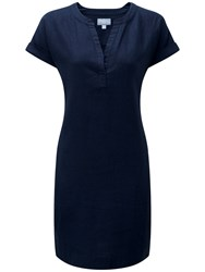 Pure Collection Laundered Linen Dress French Navy