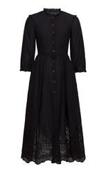 Ulyana Sergeenko Demi Couture Eyelet A Line Dress Black