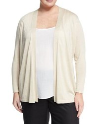 Lafayette 148 New York Long Sleeve Drawstring Cardigan Cream