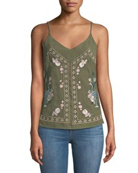 Dex Mirror Embroidered V Neck Camisole Green
