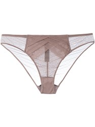Chantal Thomass Vison Plumetis Thong Women Polyamide Spandex Elastane S Brown