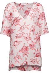 Equipment Otis Printed Washed Silk Top Baby Pink