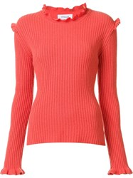 Derek Lam 10 Crosby Ruffled Detailing Ribbed Pullover Yellow Orange