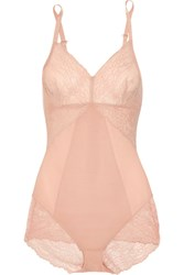 Spanx Spotlight Lace Paneled Stretch Mesh Bodysuit Blush