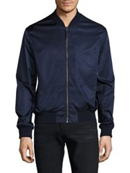 Vince Washed Satin Regular Fit Bomber Jacket Navy