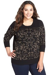 Plus Size Women's Halogen Embellished Crewneck Sweater