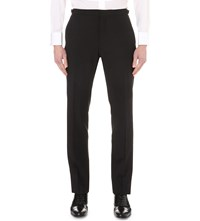 Burberry Tailored Fit Straight Wool And Mohair Blend Trousers Black