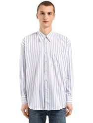 Our Legacy Oversize Striped Cotton Poplin Shirt White Blue