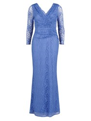 Gina Bacconi Stretch Floral Lace Long Ruched Dress Blue