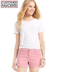 Celebrity Pink Jeans Juniors' Mid Rise Cuffed Colored Wash Shorts 3' Inseam Crystal Rose