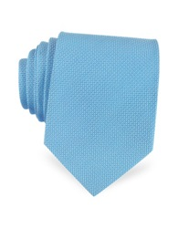 Forzieri Solid Woven Silk Tie Light Blue