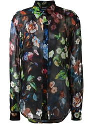 Anthony Vaccarello Floral Print Button Down Shirt Black