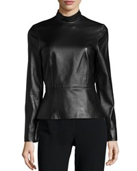 J. Mendel Long Sleeve Mock Neck Top Noir Women's