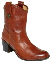 Frye Women's Booties Jackie Button Short Booties Women's Shoes Cognac