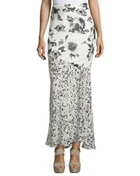 Haute Hippie Mixed Print Maxi Skirt Swan Black