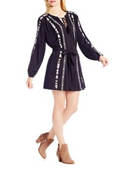 Jessica Simpson Long Sleeve Embroidered Shirtdress Black