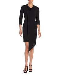 Gabby Skye Solid Cowlneck Dress Black