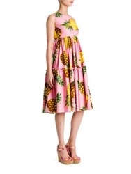 Dolce And Gabbana Cotton Poplin Pineapple Print Tier Dress Pink Pineapple