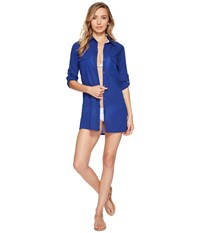 Lauren Ralph Lauren Crushed Camp Shirt Cover Up Ocean Blue Women's Swimwear