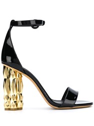 Salvatore Ferragamo Contrast Block Heel Sandals Black
