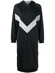 Marios V Print Hooded Dress Black