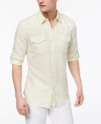 Guess Men's Walker Western Shirt Lime Squeeze Washed