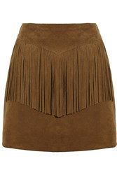 Saint Laurent Fringed Suede Mini Skirt Brown