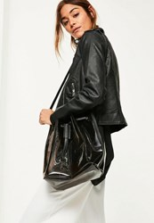 Missguided Black Smoked Effect Clear Shoulder Bag