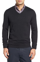 John W. Nordstromr Men's Big And Tall Nordstrom Merino Wool V Neck Sweater Black Rock