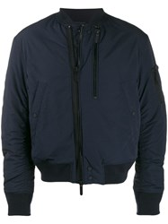 Emporio Armani Loose Fit Zip Up Bomber Blue