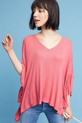 Anthropologie Capa Fluttered Tunic Pink