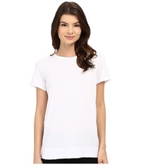Yummie Tummie Crew Neck Open Back Short Sleeve Cover Up Tee White Women's T Shirt