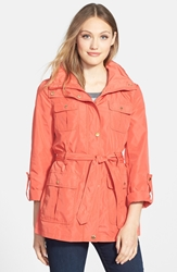 Ellen Tracy Techno Short Trench Coat Regular And Petite Persimmon