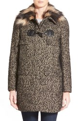 Women's Trina Turk 'Annabelle' Faux Fur Collar Tweed Coat