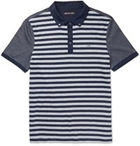 Michael Kors Slim Fit Striped Cotton Jersey Polo Shirt Navy