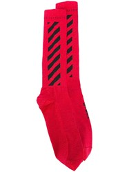 Off White Striped Panel Socks Red