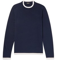 Berluti Contrast Trimmed Silk And Cotton Blend Sweater Blue
