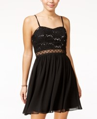 Amy Byer Bcx Juniors' Sequined Lace Fit And Flare Dress Black