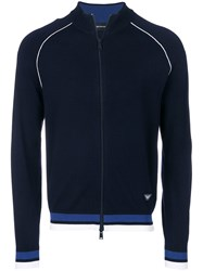 Emporio Armani Contrast Trim Zip Up Cardigan Blue