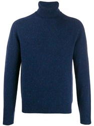 Malo Rollneck Knit Sweater Blue