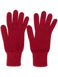 Pringle Of Scotland Gloves With Ribbed Details Red