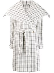 Aalto Belted Checked Coat White