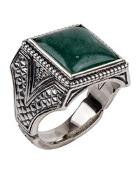 Konstantino Men's Sterling Silver And Aventurine Signet Ring Green